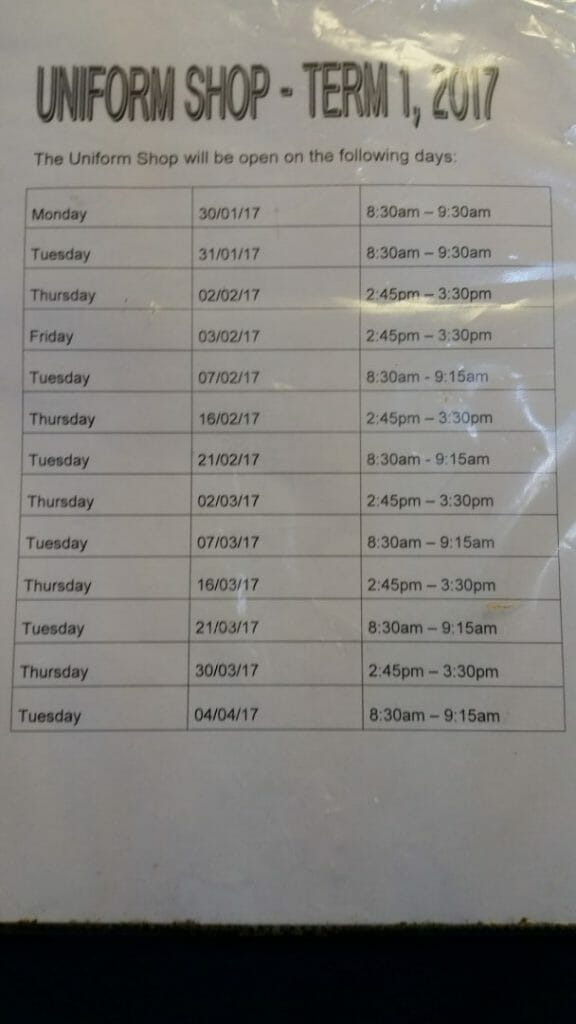 The Uniform Shop Opening Hours