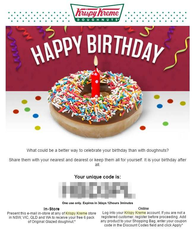 Free Birthday Krispy Kreme ~ Free gifts for your birthday marco tran