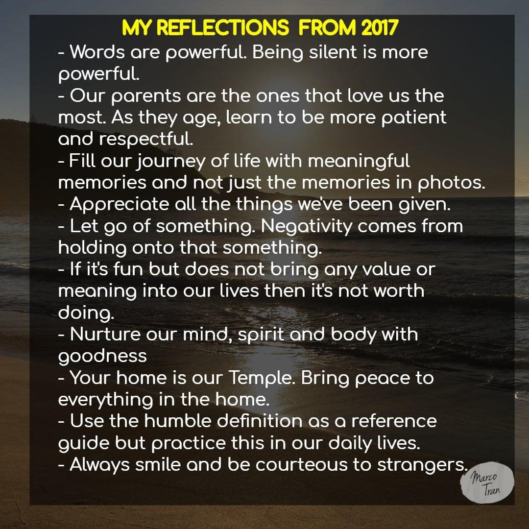 my reflections from 2017