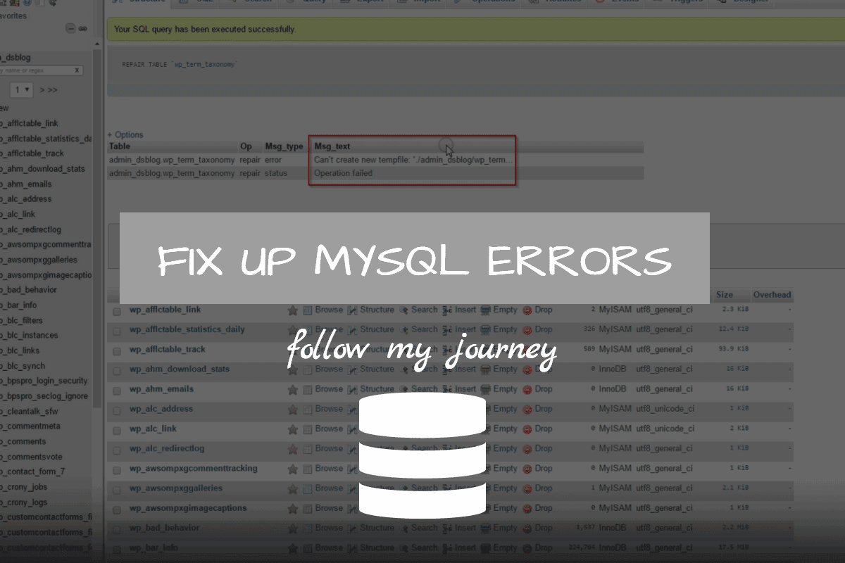 fix up mysql errors 1