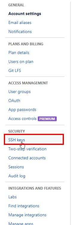 Bitbucket Settings SSH Key