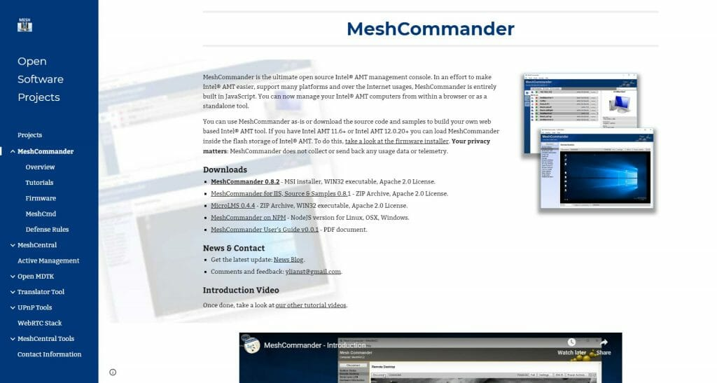 Marco Tran The Simple Entrepreneur Open Source Tool For Intel AMT Management Console MeshCommander website
